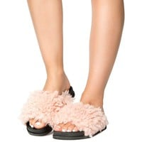 Fuzzy Vegan Shearling Open Toe Footbed Slip On Sandal Pink