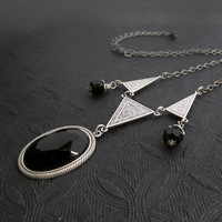 Art Deco Necklace - Jet Black Gothic Jewelry - Geometric