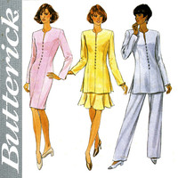 Tunic Pantsuit Dress Skirt Pattern Uncut Bust 34 - 38 Butterick 4146 Evening Princess Seam Sheath Dress Flounce Skirt Womens Sewing Pattern