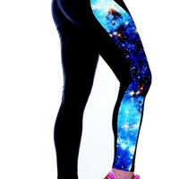 Women's Fashion Slim Sports GYM Yoga Soft Galaxy Print Leggings (Size: M) = 1932683012