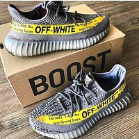 Onewel ADIDAS x Off White Yeezy Boost 350 V2 Woman Men Fashion Sport Sneakers Shoes Grey letters yellow