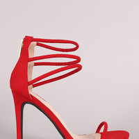 Anne Michelle Suede Triple Ankle Strap Single Sole Heel