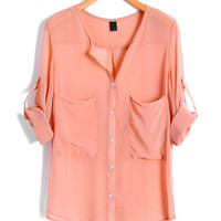 Pink V Neckline Chiffon Blouse with Twin Pockets