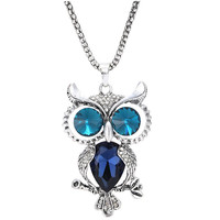 Vintage Owl Necklace Alloy Popcorn Chain Rhinestone Crystal Long Pendant Necklaces Handmade Fashion Charm Jewelry For Women