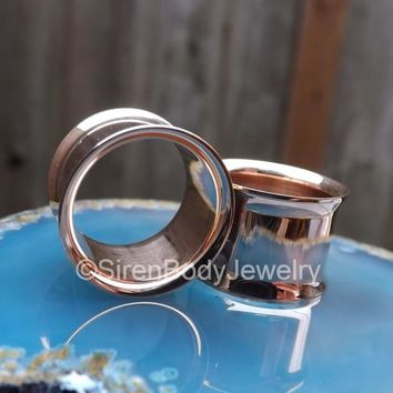 Rose gold tunnel earrings 0g double flare eyelet stretched ear plugs pair