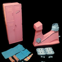 Vintage Barbie Workout Center Locker with Mirror and Exercise Bike view pictures