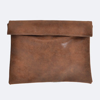 Distressed Faux Leather Rolled Up Clutch