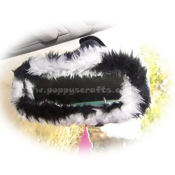 Black and White Zebra stripe faux fur rear view interior mirror cover