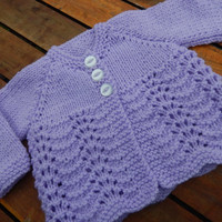 pretty hand knitted baby matinee jacket/ cardigan/ sweater lilac 0-3 month