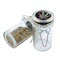 Glass Stash Jar - Leaf - 75ml Storage Container - Secret Stash Box for Custom Herb Grinder - Stay Fresh Herbs 1/6 oz.