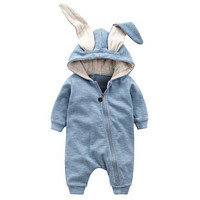 Cute Rabbit Ear Hooded Baby Rompers For Babies Boys Girls Clothes born Clothing Brands Jumpsuit Infant Costume Baby Outfit