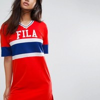Fila Oversized Varsity T-Shirt Dress at asos.com