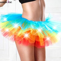 Adult dance Performance Skirt Colorful LED Tutu Skirts Up Neon Fancy Rainbow Fancy Costume light Mini Tutu Skirt