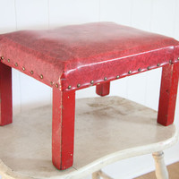 Foot Stool, Red, Mid Century, Vinyl, retro decor, red home decor, red foot rest, masculine, man cave decor, him, valentines day