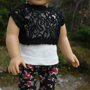3 piece set!!! ivory tank top, black  lace off the shoulder tee and stretchy red & black floral leggings, 18 inch doll clothes