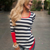 Stripe Long-Sleeve Asymmetrical Shirt