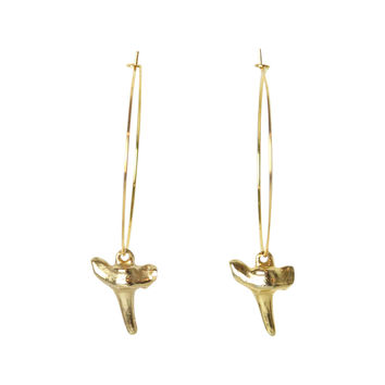 Hoop Earrings with Gold Mini Shark Tooth Charms- Beach Style