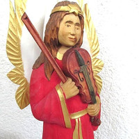 wood angel statue carved wood figurine angel folk art from Poland Christmas gift
