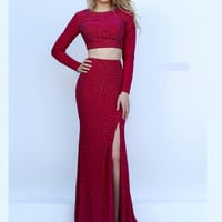 Long Sleeved Sherri Hill Formal Prom Gown 50077