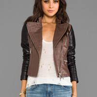 KENNA-T Two Tone Moto in Brown/Black from REVOLVEclothing.com
