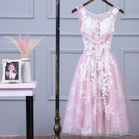 SEXY LACE VEST LONG PINK  HOMECOMING DRESS