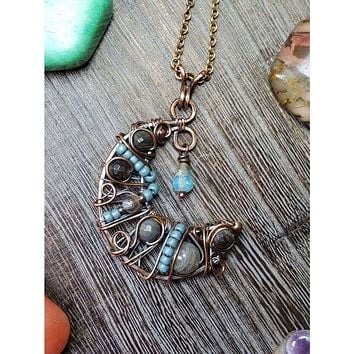 Half Moon Wire Wrapped Copper Necklace-Blues
