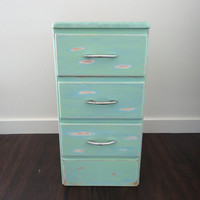 Upcycled 3 Drawer Side Table or Night Stand with Chippy Paint In Sea Foam Green and Robins Egg Blue