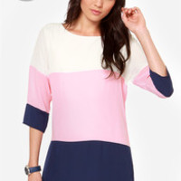 LULUS Exclusive Citrus Grove Pink and Navy Blue Shift Dress