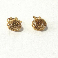 Vintage Trifari, Trifari Earrings, Swirl Earrings, Clip-on Earrings, Knot Earrings