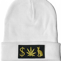MONEY WEED PUSSY CAT Beanie in White