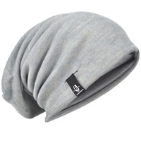 Baggy Knitting Beanie Cap Solid Slouch Beanie Hat Large Oversize Hat For Men Summer Winter Hat HISSHE