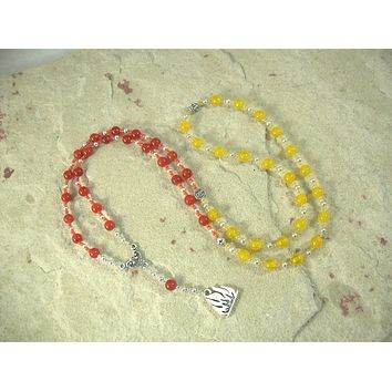 Hestia Prayer Bead Necklace in Carnelian and Yellow Jade: Greek Goddess of Hearth, Home and Family