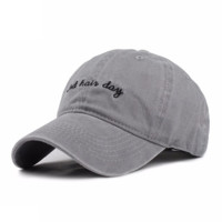 Gray BAD HAIR DAY Washed Cotton Adjustable Solid color Baseball Cap