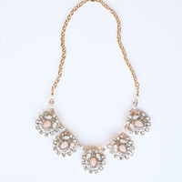 Danielle Crystal and Blush Statement Necklace