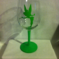 Tinkerbell glittered stemmed wine glass