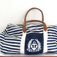 Vintage large Nautical overnight carry on duffle bag / blue and white fabric suitcase