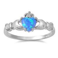 Sterling Silver Heart Shape Simulated Blue Opal Claddagh Ring 9MM ( Size 3 to 12 )