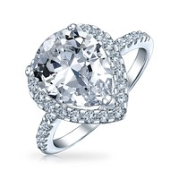 925 Sterling Silver Band 7CT AAA CZ Teardrop Halo Pear Engagement Ring