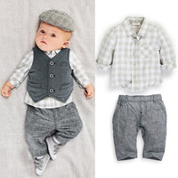 New Newborn baby boy Grey Waistcoat + Pants + Shirts clothes sets Suit 3PCS = 5618786049