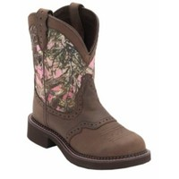 Justin® Gypsy Collection™ Ladies Distressed Brown w/Pink True Timber Camo Top Round Toe Western Boots