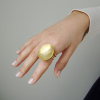 Gold disk ring, matte gold, statement ring of brass, large, hollow gold disk, adjustable ring, gold plated brass ring, high fashion gold