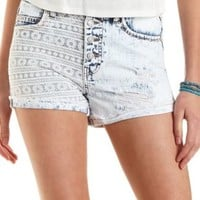 Embroidered Patch High-Waisted Denim Shorts