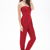 FOREVER 21 Strapless Pleated Jumpsuit Red