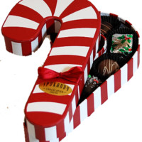 Striped Candy Cane with Assorted Chocolates
