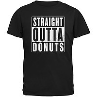 Straight Outta Donuts Black Adult T-Shirt
