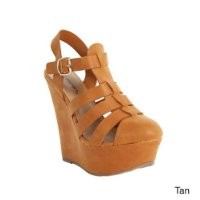 Breckelle's CAROL-21 Women Closed Toe Buckle Ankle Strap Gladiator Sandal Wedges, Color:TAN, Size:5.5