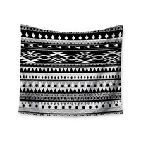 "Nika Martinez ""Black Hurit"" Gray White Wall Tapestry"