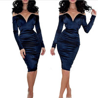Navy Blue Plunging V Neck Off Shoulder Long Sleeve Ruched Bodycon Midi Dress