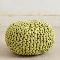 Knitted Chenille Pouf by Anthropologie Green One Size House & Home
