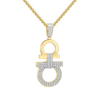 "Hip Hop Designer Iced Out AA Pendant 14k Gold Finish with free 24"" Box Chain"